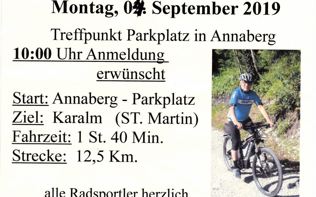 """Mittwoch 4. September 2019 """"Radln mit Sepp"""" zur Karalm in St. Martin"""