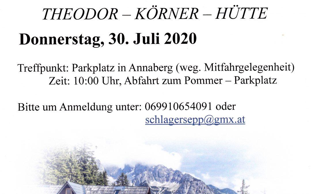 ALM WANDERUNG auf die Theodor-Körner-Hütte, Donnerstag, 30. Juli 2020