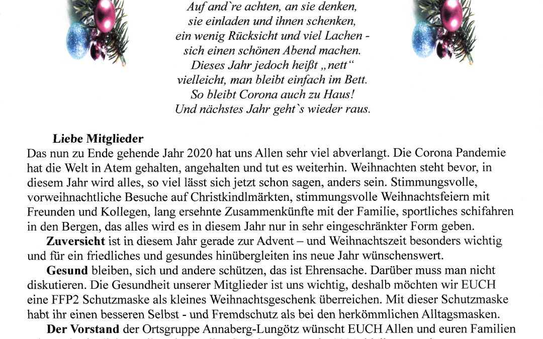 2020 wegen Covid keine Weihnachtsfeier, dafür ein Weihnachtsbrief an die Mitglieder